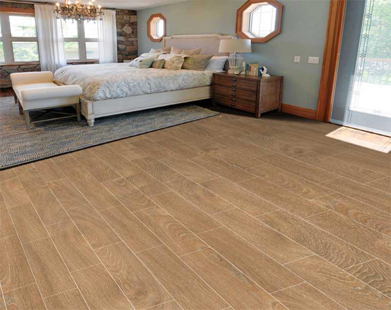 Gạch lát nền tone màu nâu đậm, vân gỗ mã 1560WOOD003