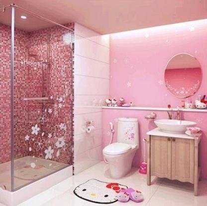 Phòng tắm màu hồng