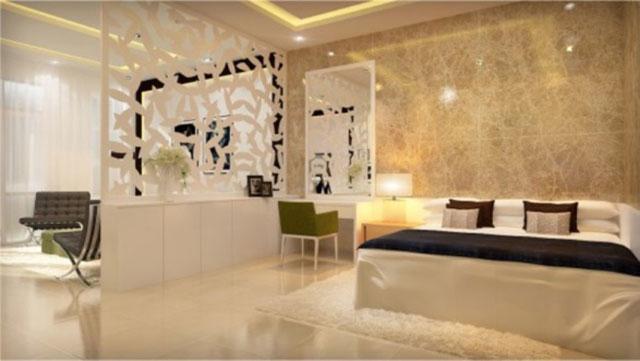 Gạch ốp tường cho phòng ngủ nhà ống
