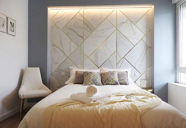 Gạch ốp tường cho phòng ngủ nhà biệt thự