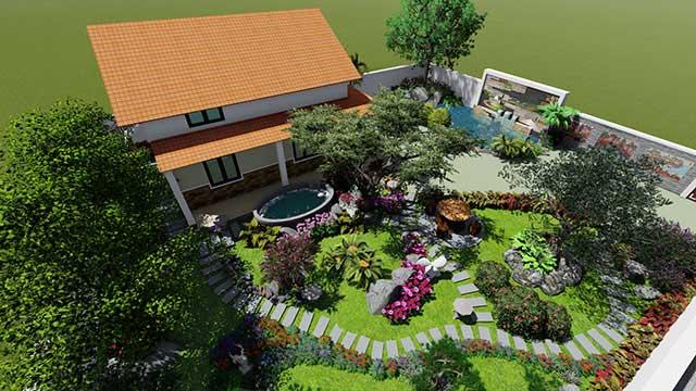 Không gian sân vườn trang trí tiêu cảnh nhà cấp 4 đẹp