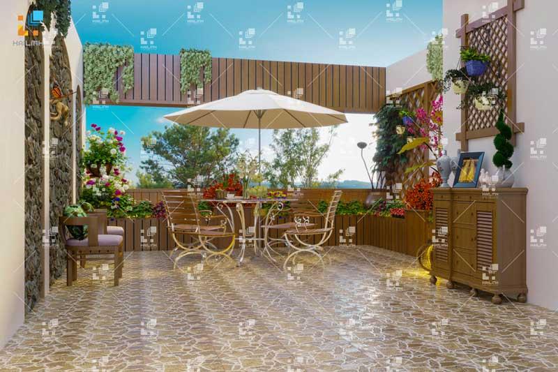 Gạch sân vườn giả cỏ phong cách Rustic độc đáo cho nhà đẹp