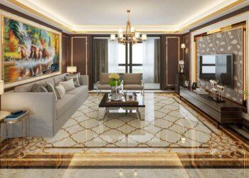 Mẫu gạch lát nền phòng khách đẹp giả gỗ Tây Ban Nha HOÀN HẢO